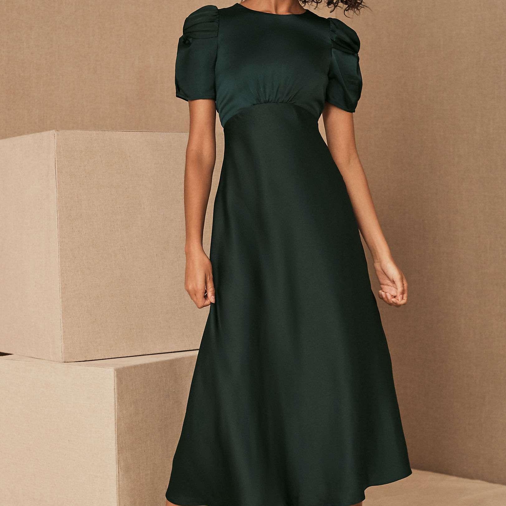 BHLDN Leyden Satin Midi Dress $198