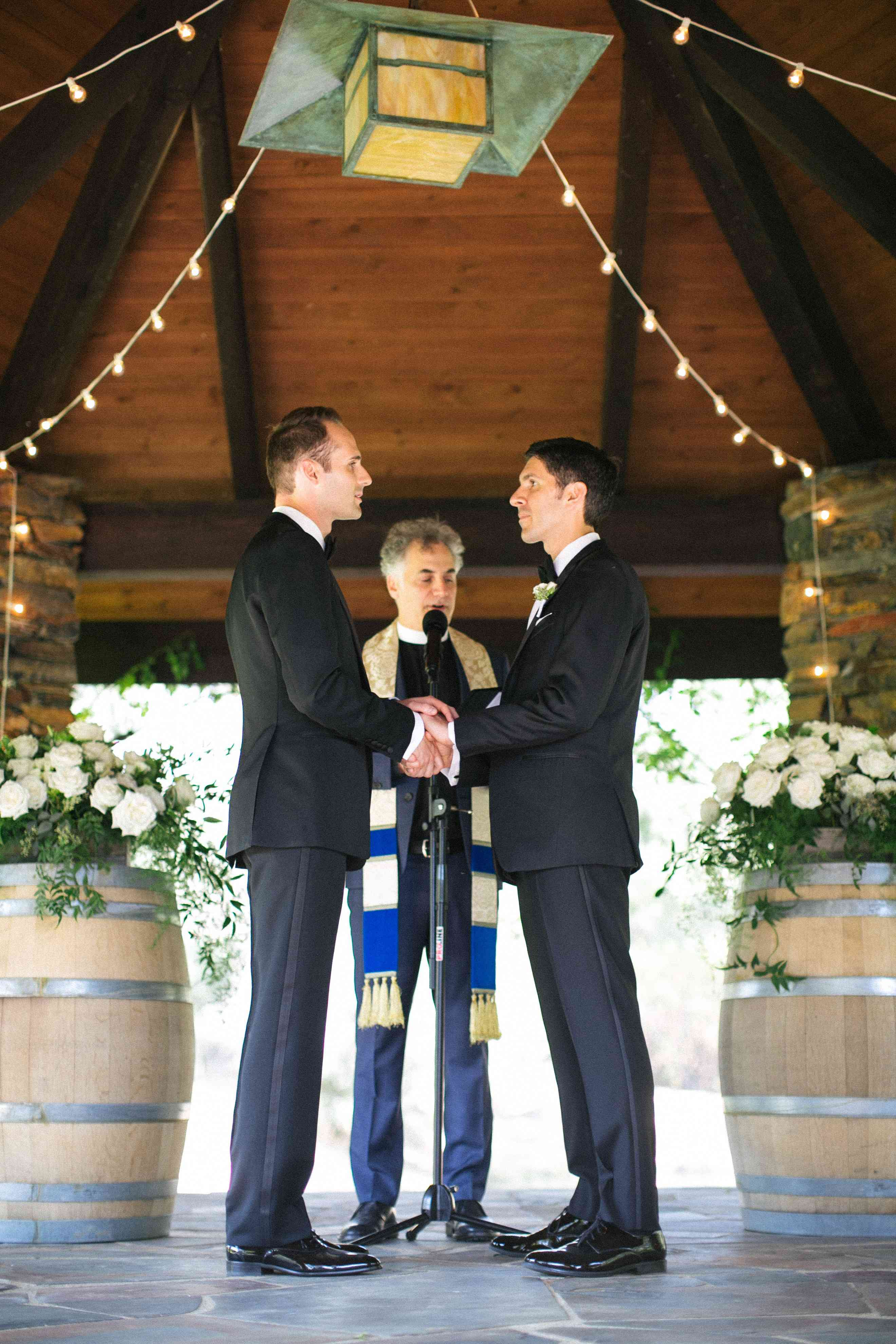 Grooms exchanging vows
