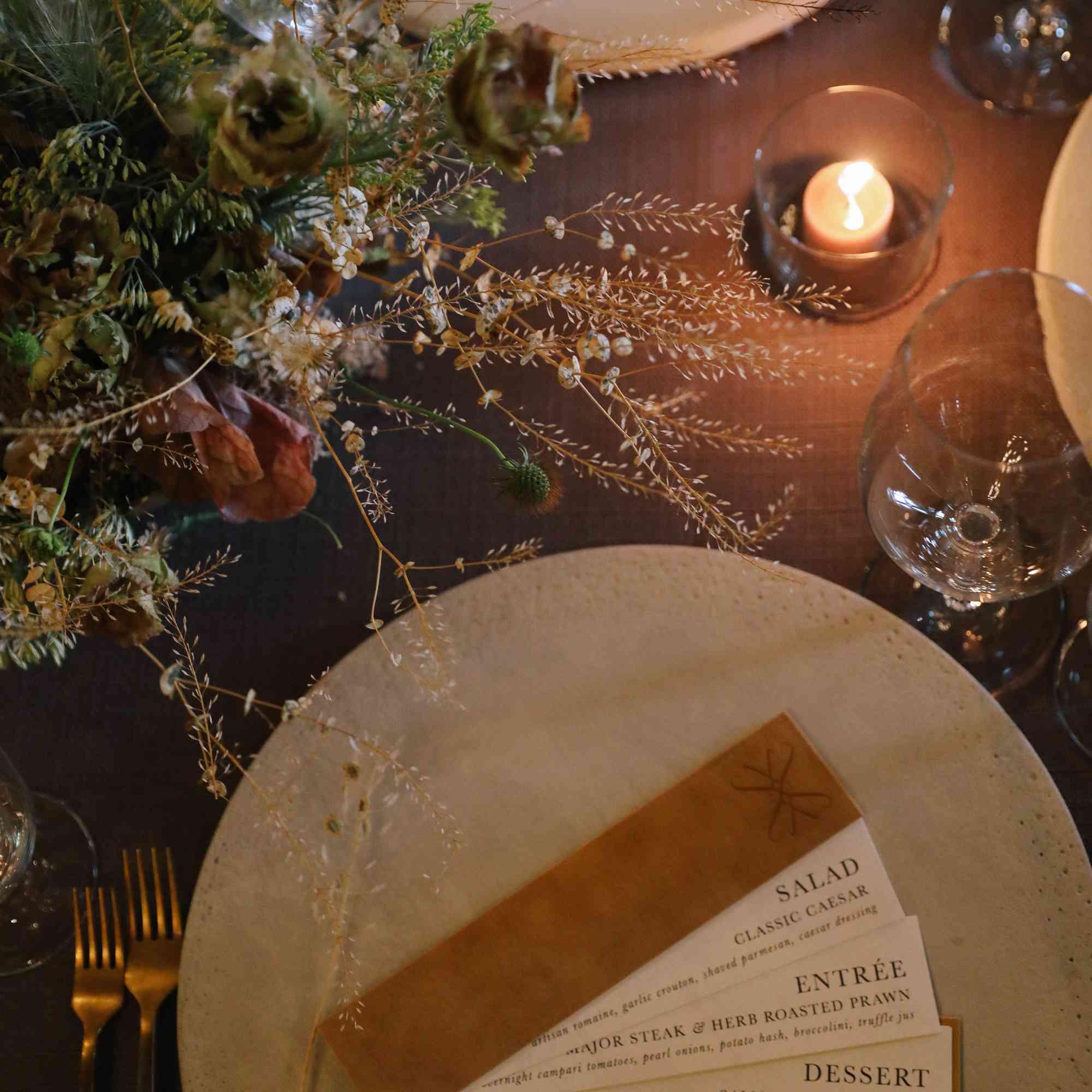 savannah and riker wedding, menu