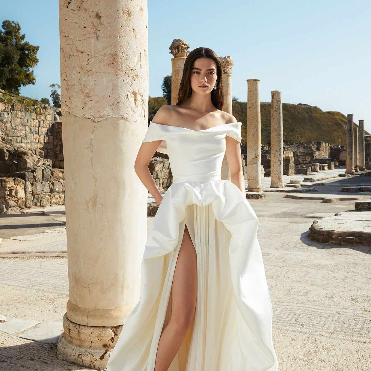 white gown and skirt