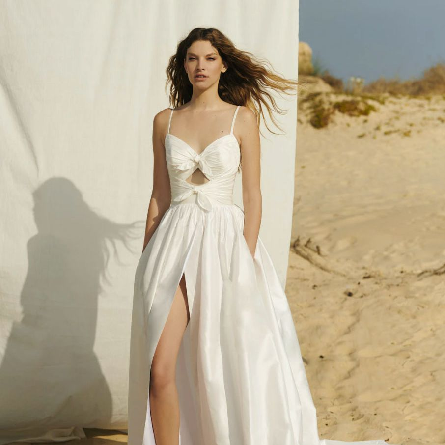 dress with bows and slit