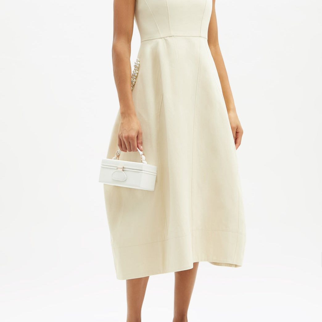 Simone Rocha Faux-Pearl and Crystal-Embellished Cotton Dress