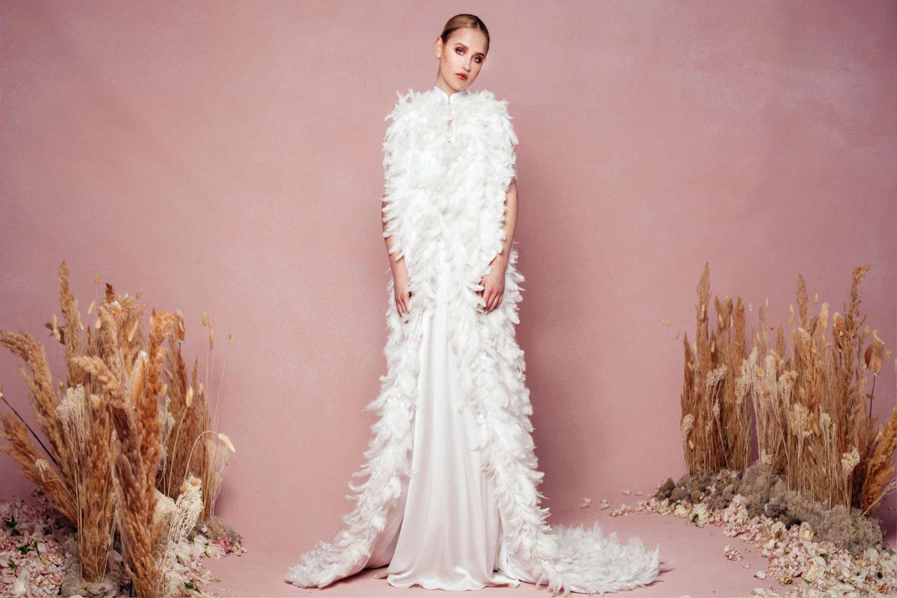 30 Feather Accented Wedding Gowns For The Fanciful Bride