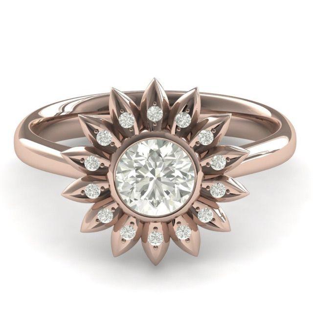 SegalJewelry Sunflower Unique Engagement Ring Sunflower Ring Rose Gold Flower Sunflower Flower Ring Unique Engagement Ring