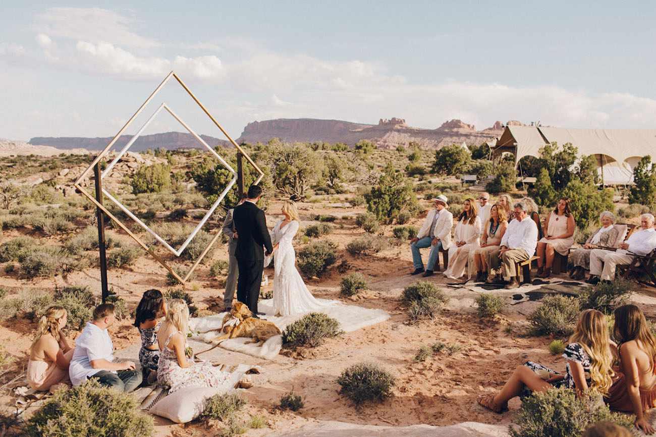 Modern desert wedding ceremony