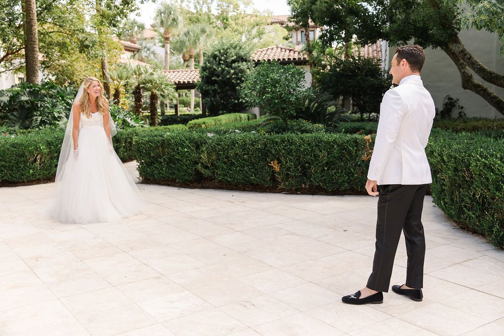 timeless southern wedding, bride and groom first look
