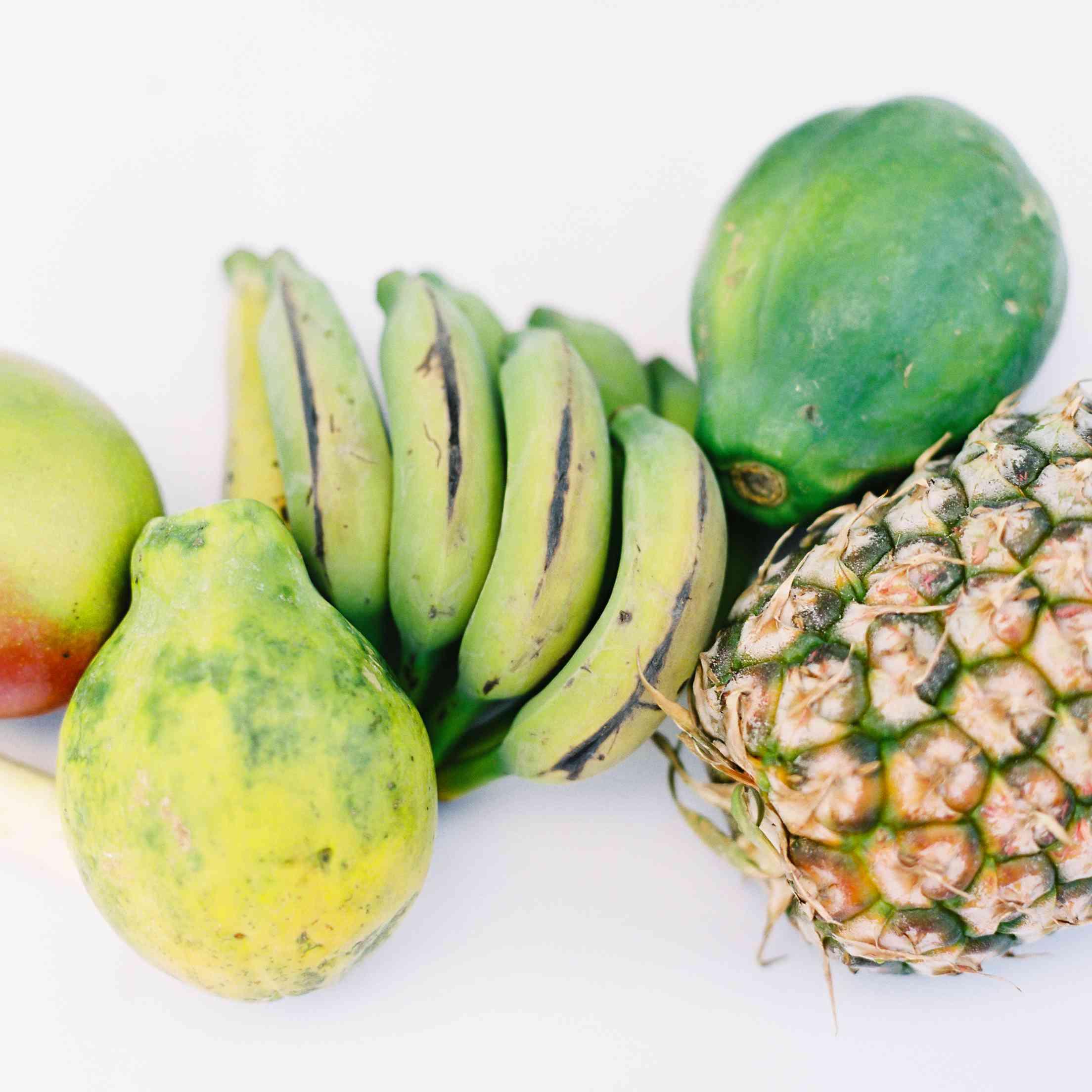 tropical maui wedding, reception table fruit