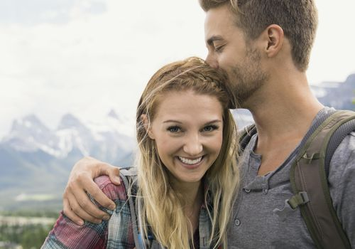 <p>Honeymoon Couple Hiking in the Mountains</p>