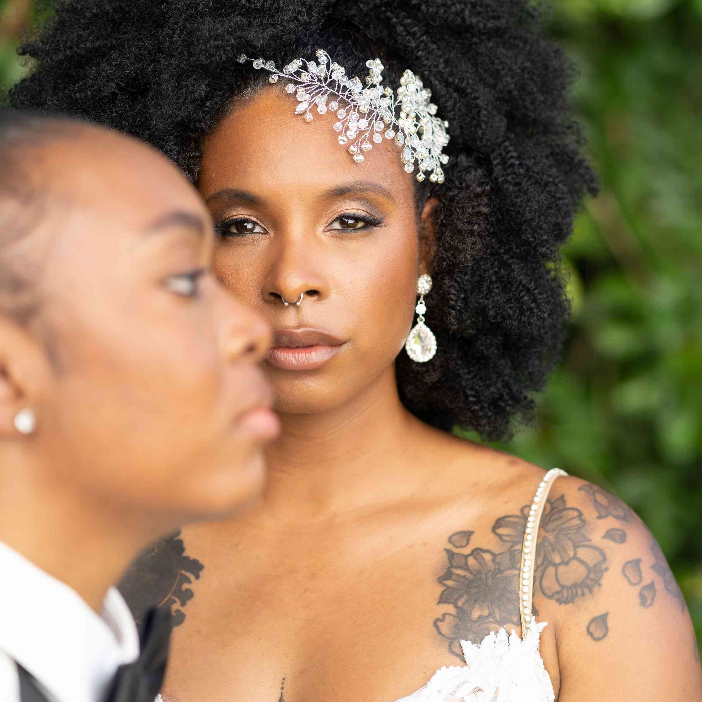 Bride with powerful shoulder tattoo