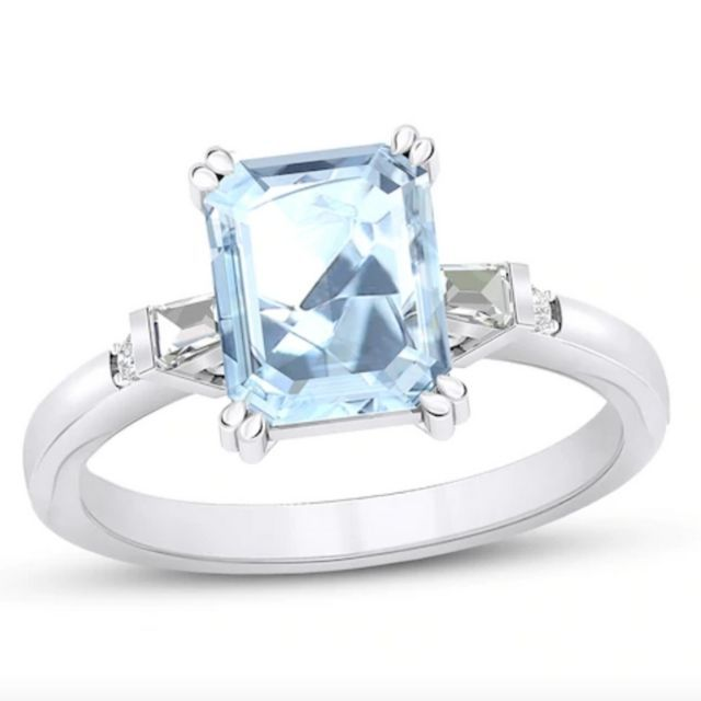Jared Aquamarine Engagement Ring 1/8 ct tw Diamonds 14K White Gold