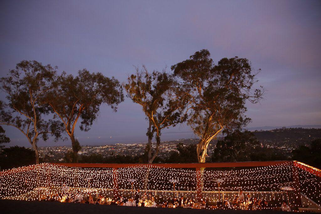 minimalist california wedding, reception twinkle lights