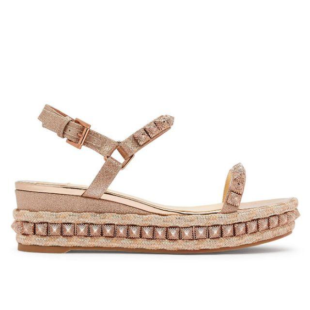 Rose gold platform sandal with shimmer and bead embellishments