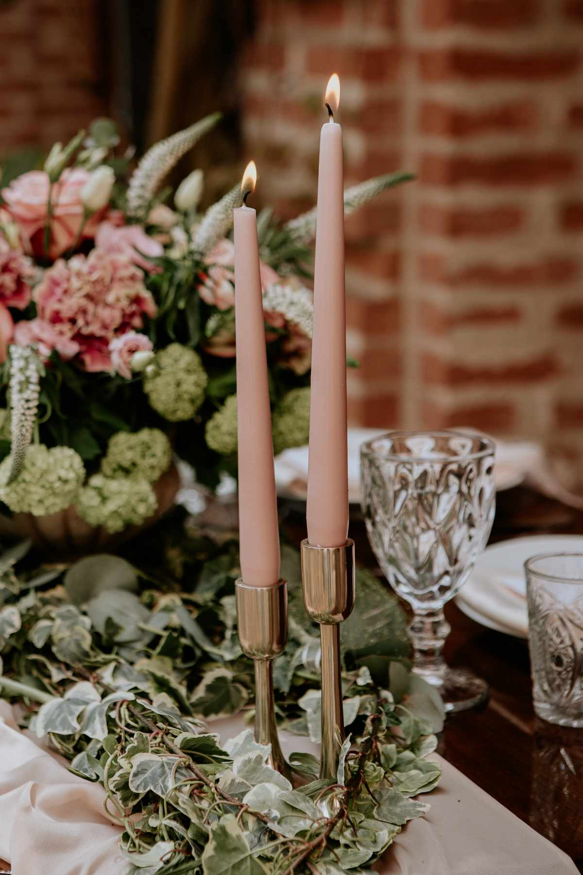 pink tapered candles