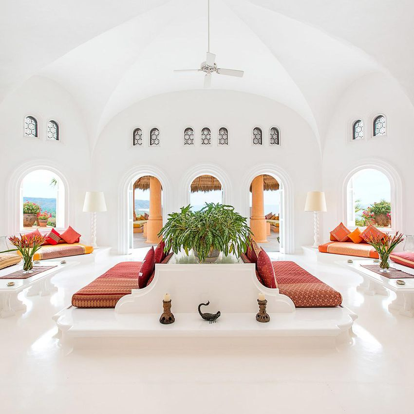 The lobby at Cuixmala, a resort in Mexico.