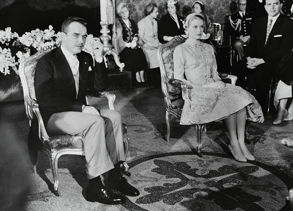 Prince Rainier and Grace Kelly in the Palace Throne Room during the civil ceremony