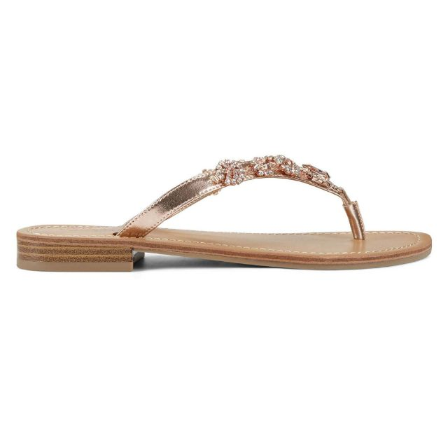 Rose gold flip flop with leather strap and bead embellishments