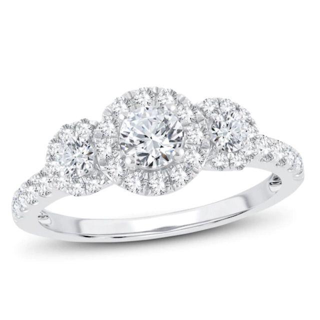 Kay Jewelers 3-Stone Diamond Engagement Ring 1 ct tw Round-cut 14K White Gold