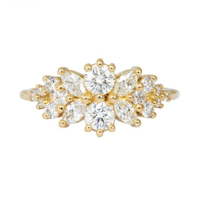 cluster engagement ring with gold band