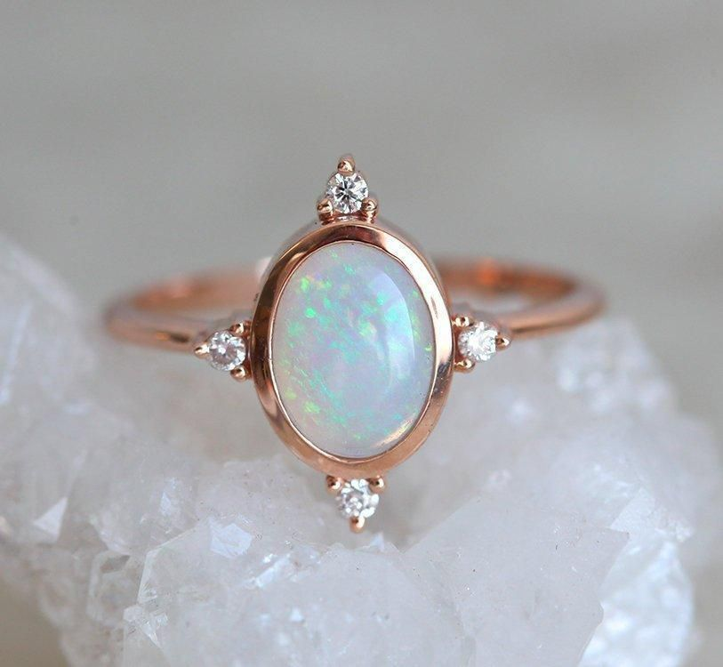 18 Karat Gold Natural Australian Fire Opal Ring Heart Opal Ring Opal Promise Rings White Fire Opal Ring Simple Twisted Ring