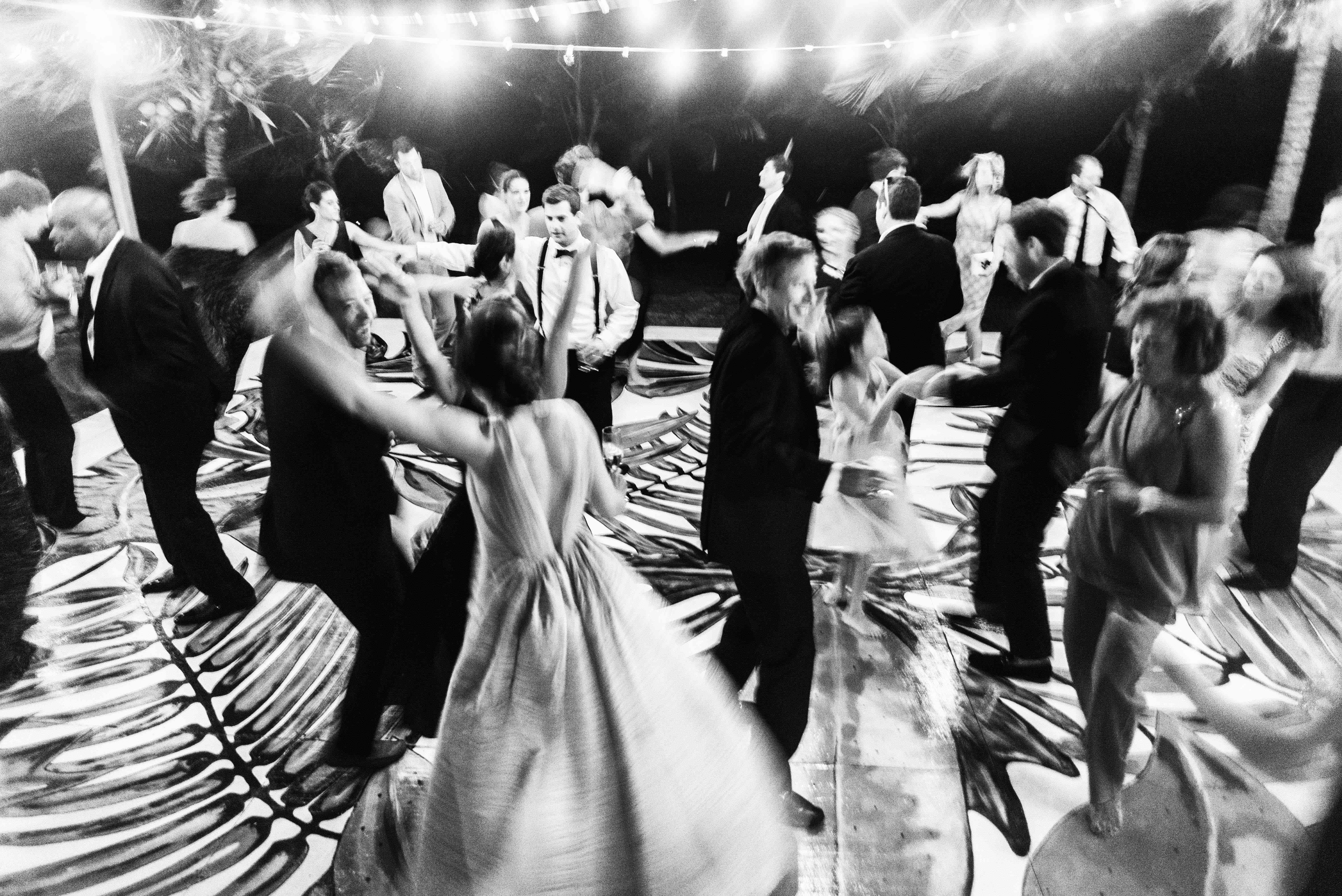 wedding guests dancing reception