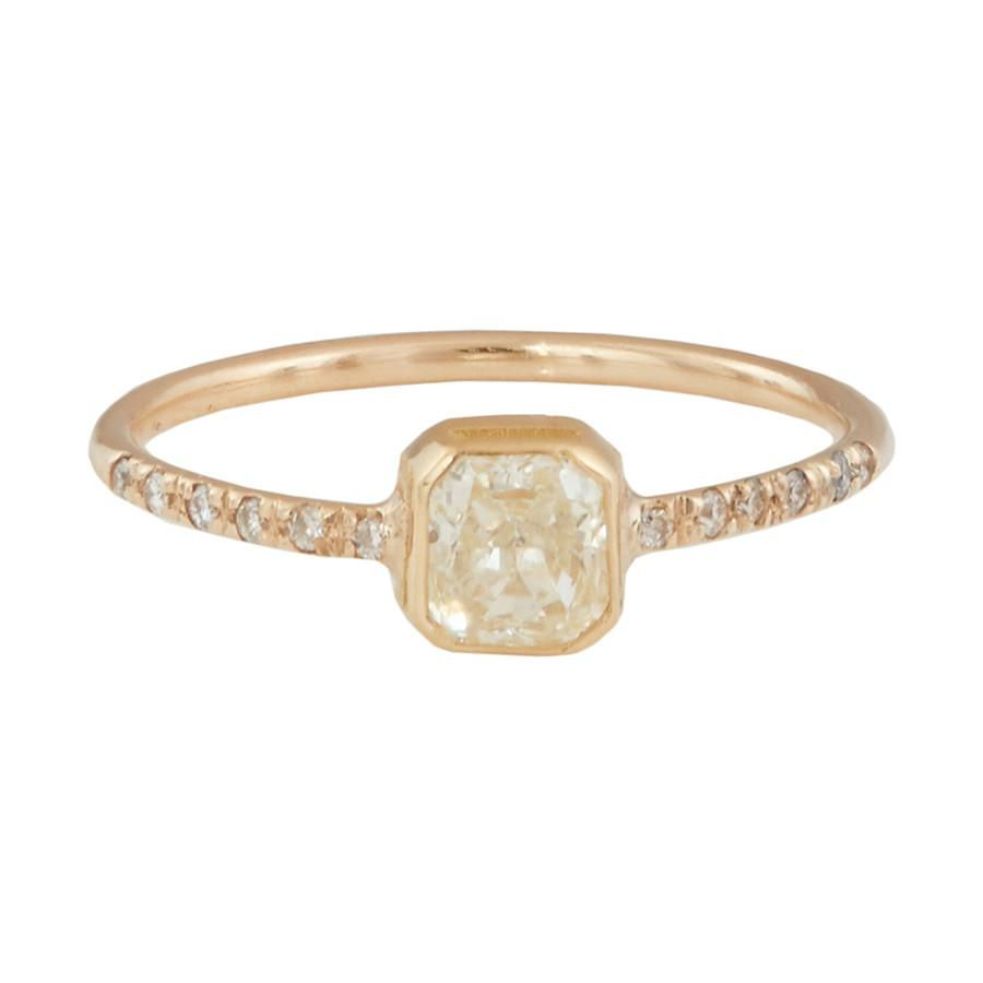 Small pave ring band with yellow diamond
