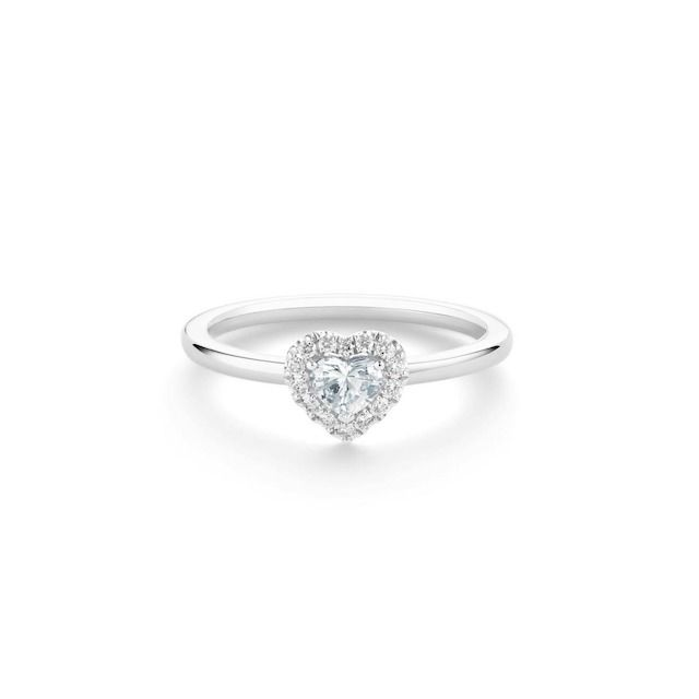 De Beers Aura Heart-Shaped Diamond Ring in Platinum