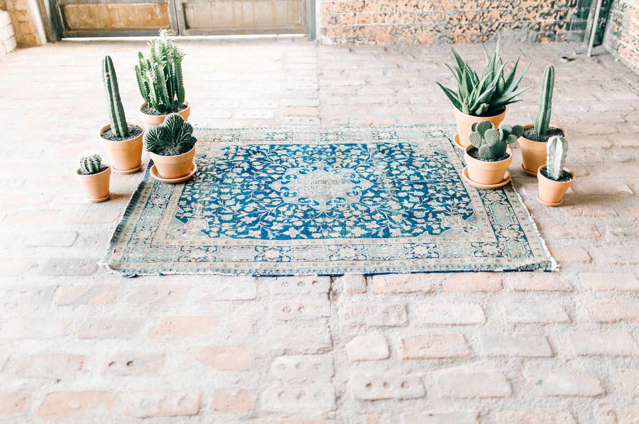 Colorful rug with cacti