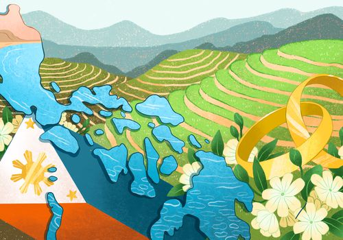 An illustration depicting marriage in The Philippines, featuring the geographical outline of the islands, the flag, landscape, flowers, and wedding rings.