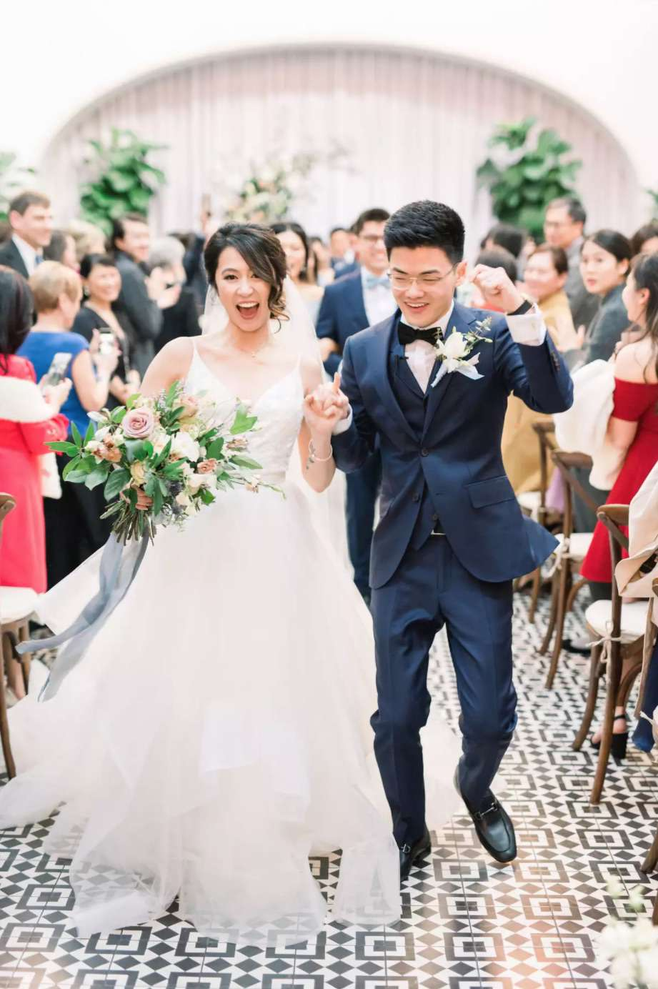 Newlyweds victorious recessional
