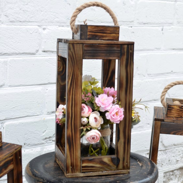 Large Farmhouse Wooden Candle Holders