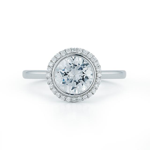 Dana Rebecca Bezel Set Round Halo Engagement Ring