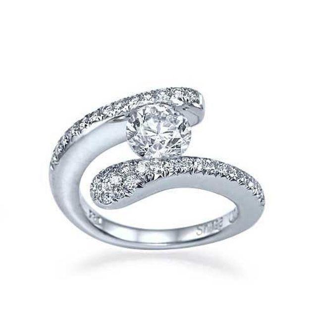 Shiree Odiz White Gold Tension Set Round Engagement Ring