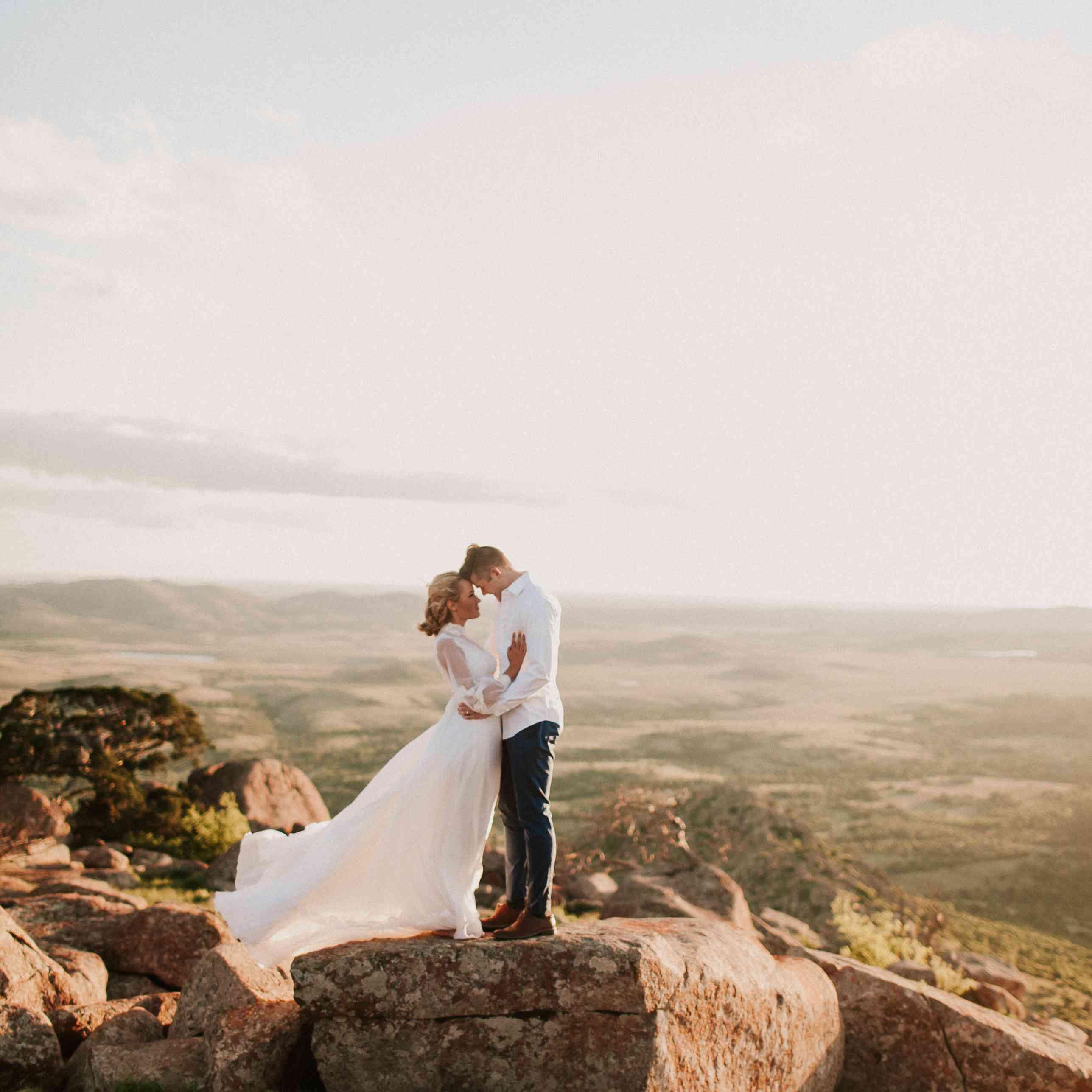 <p>Wedding photo at Wichita Mountains Wildlife Refuge</p>
