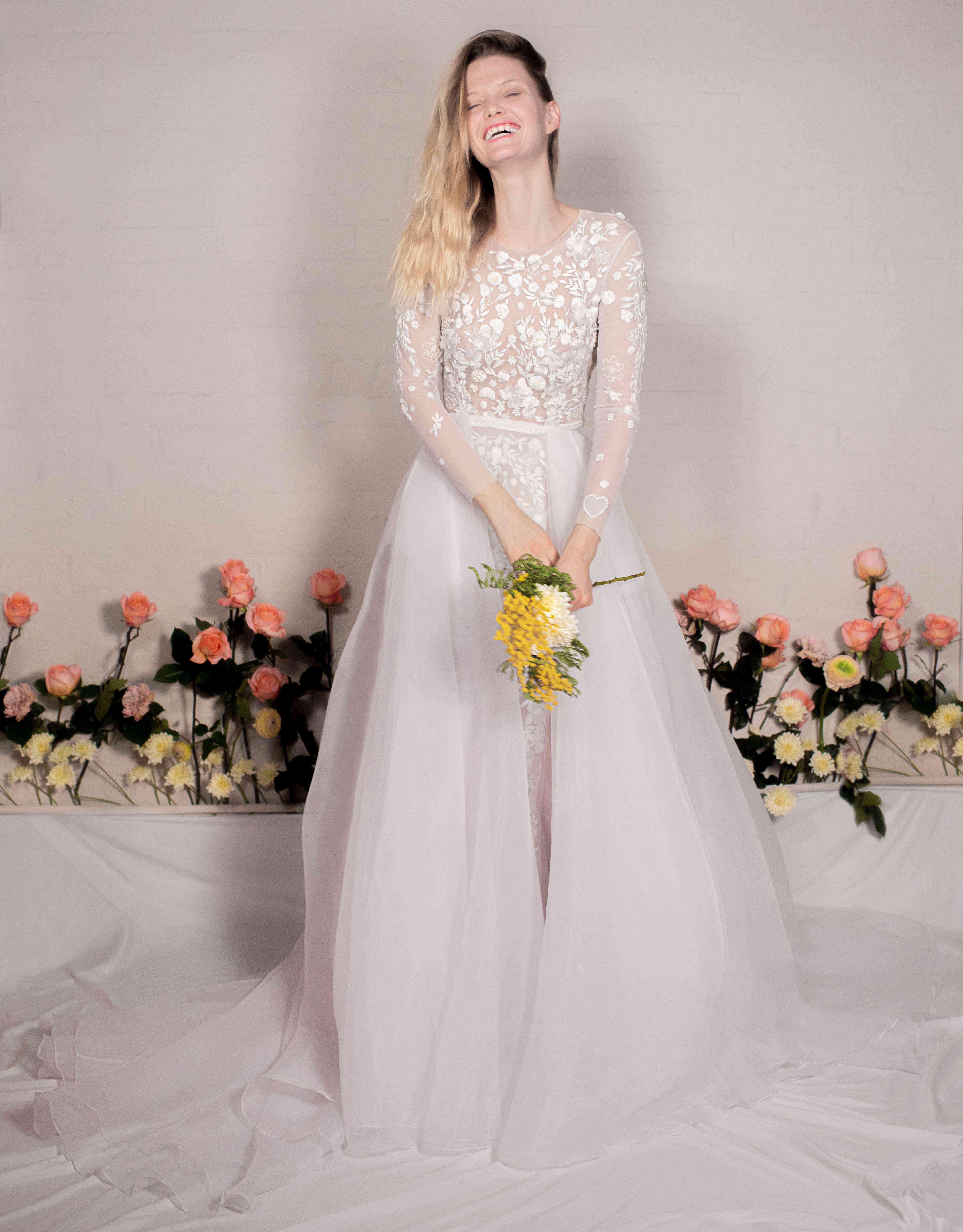 Wild Daisy three-quarter-sleeve wedding dress