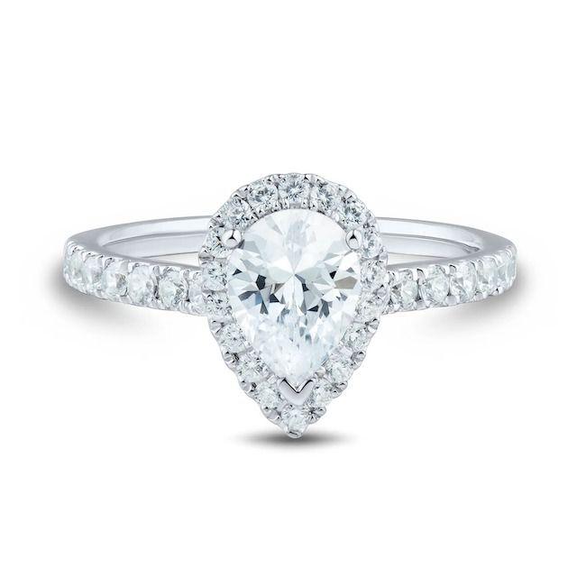 Helzberg Diamonds Light Heart Lab Grown Diamond Engagement Ring With Pear Shape in 14k White Gold