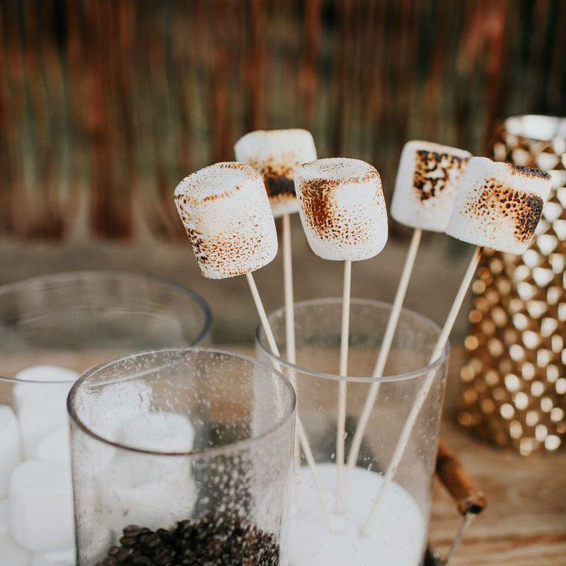 DIY s'mores station at winter wedding