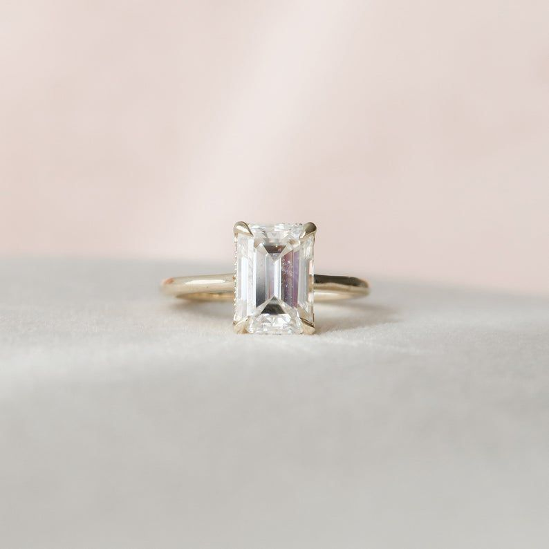 Keyzar Emerald Cut Moissanite Engagement Ring