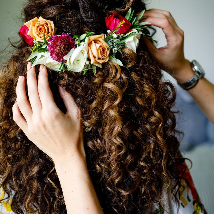 Textured Curls and Colorful Blooms