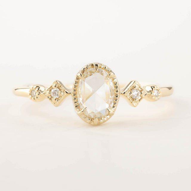 Envero Jewelry Oval Rose Cut Diamond Engagement Ring