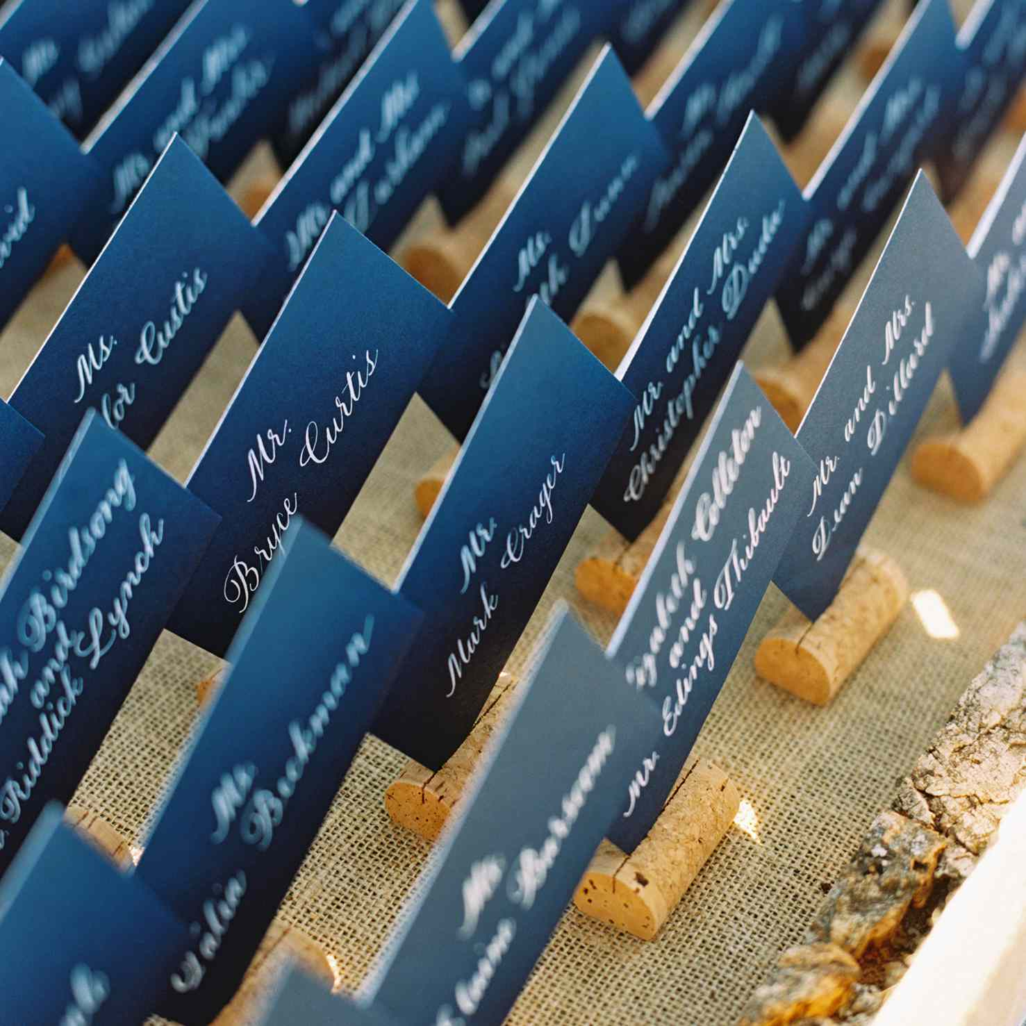 Guest name cards on corks