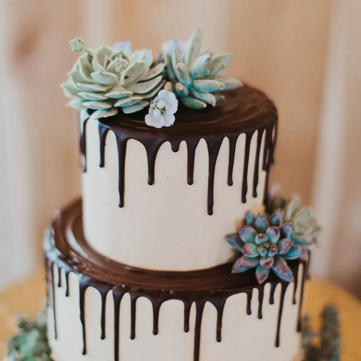 Two tier cake with chocolate drip