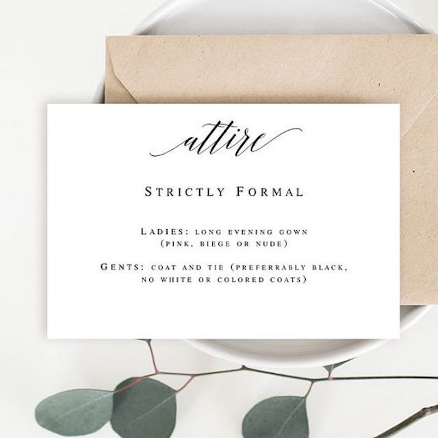 Attire card invitation insert