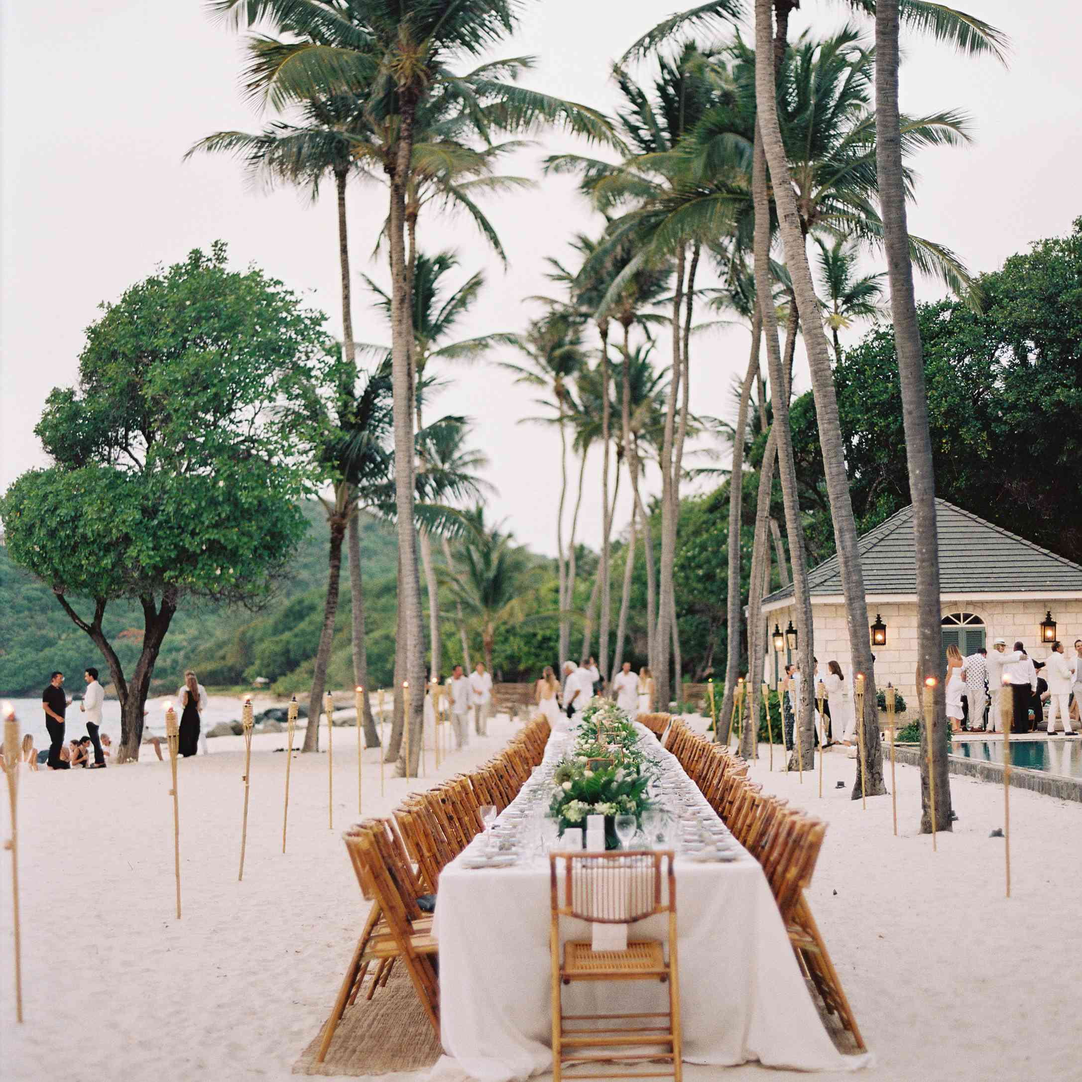 one long reception table on the beach