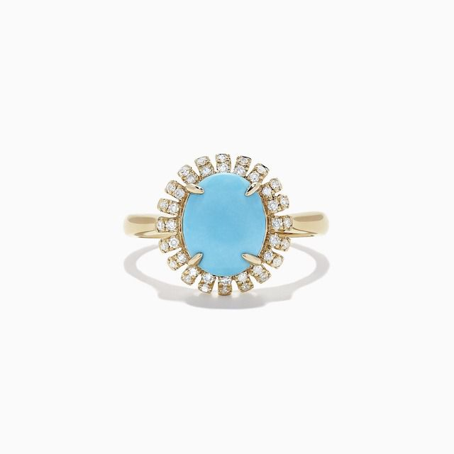 Effy 14k Yellow Gold Turquoise Diamond Ring