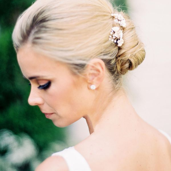 Profile of bride with up-do hairstyle