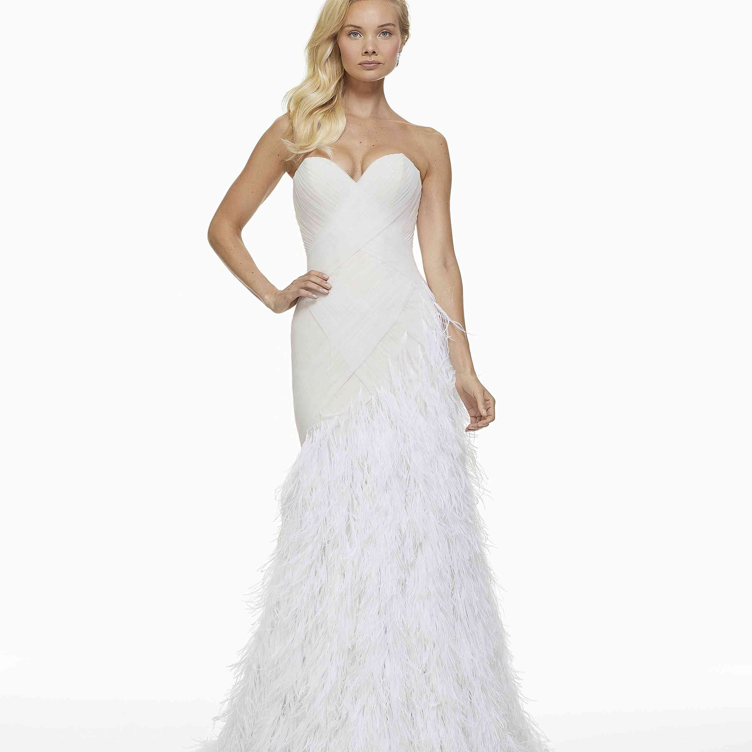Model in strapless feathered mermaid wedding dress