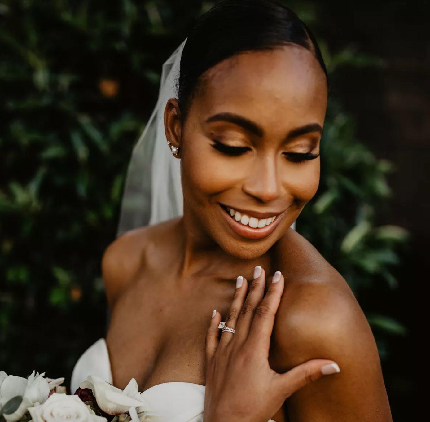 Bride smiling on wedding day