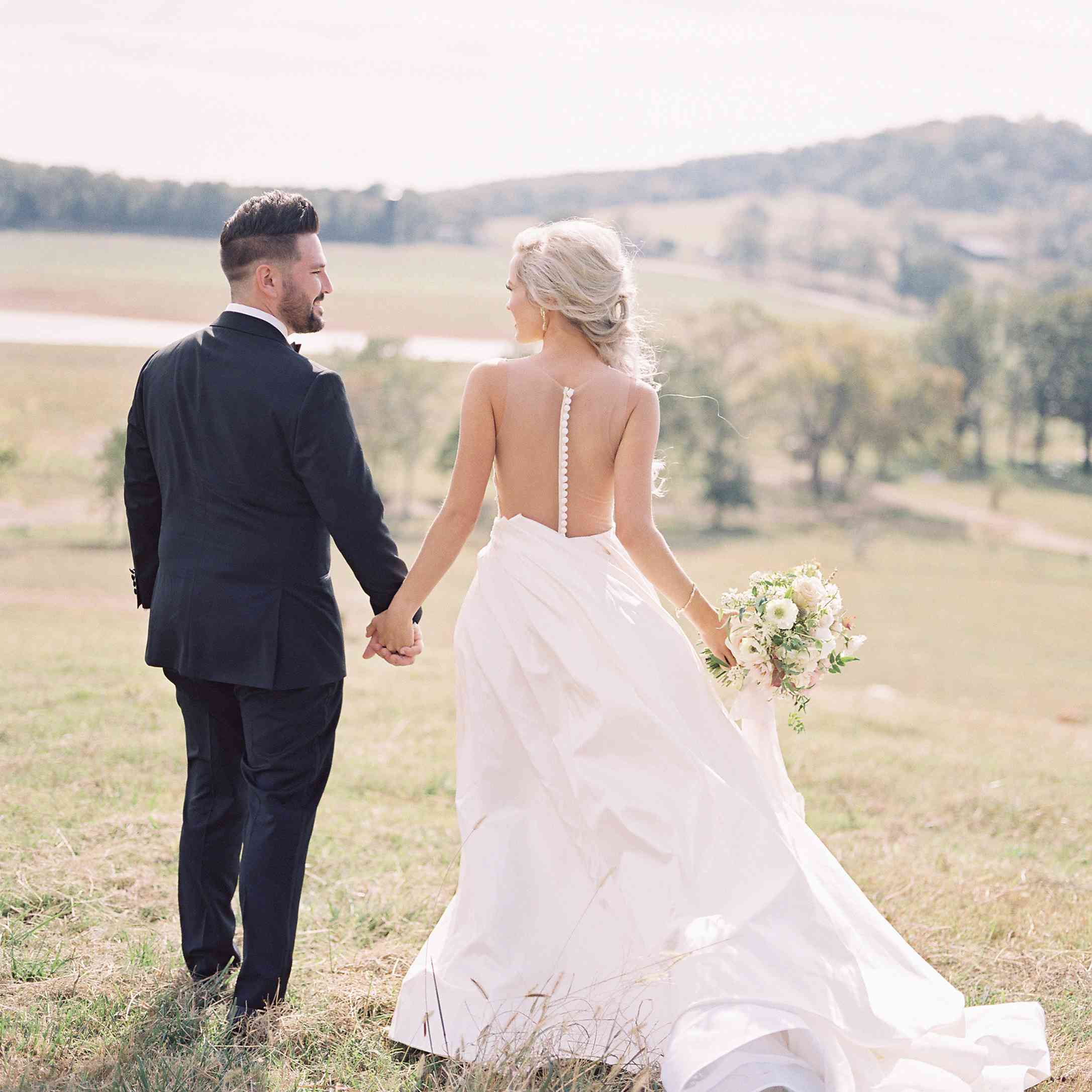 <p>Bride and groom shot from back</p><br><br>