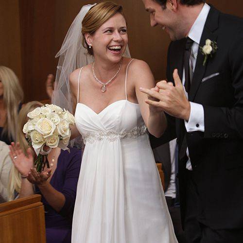 Jim And Pam Wedding.Jenna Fischer Says She And John Krasinski Were Genuinely In Love