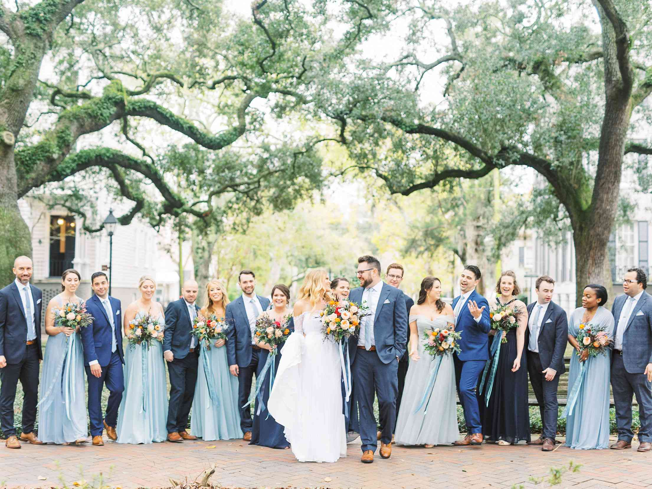 whimsical savannah wedding, bride and groom with wedding party